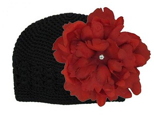 Black Crochet Hat with Red Large Peony