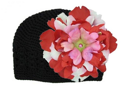 Black Crochet Hat with Red Pink Large Peony