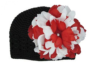 Black Crochet Hat with Red White Large Peony