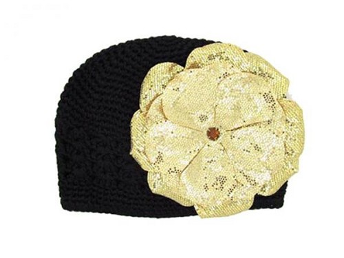 Black Crochet Hat with Sequins Gold Rose
