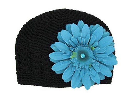 Black Crochet Hat with Teal Daisy