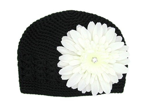 Black Crochet Hat with White Daisy