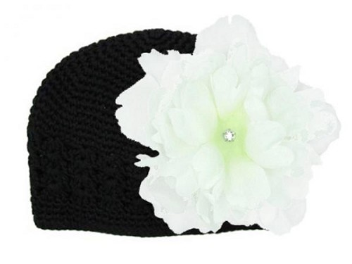 Black Crochet Hat with White Large Peony