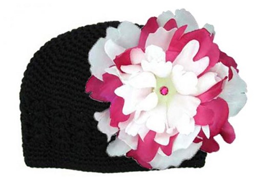 Black Crochet Hat with White Raspberry Large Peony