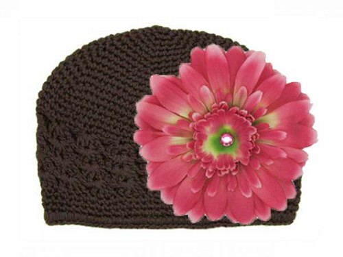 Brown Crochet Hat with Candy Pink Daisy