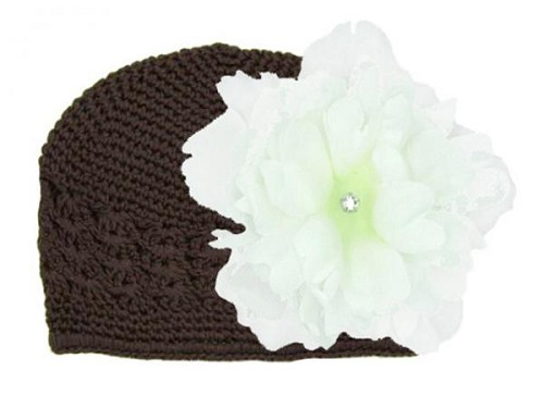 Brown Crochet Hat with White Large Peony