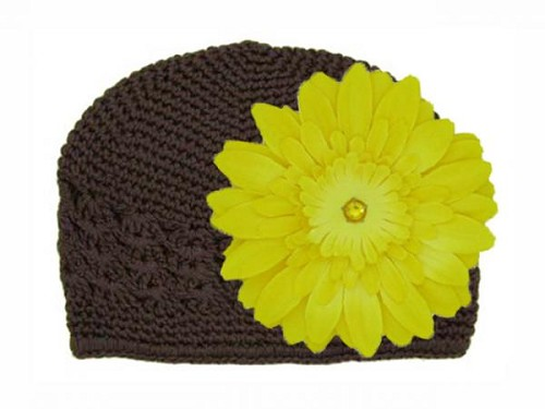 Brown Crochet Hat with Yellow Daisy