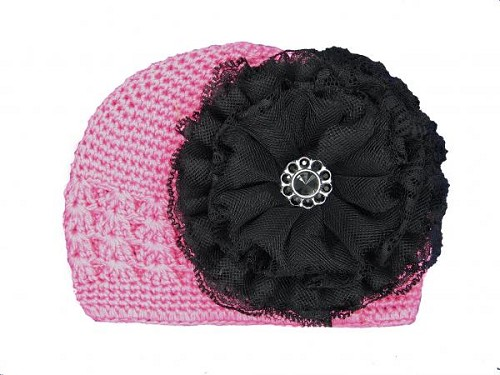 Candy Pink Crochet Hat with Black Lace Rose