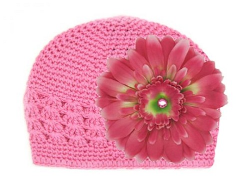 Candy Pink Crochet Hat with Candy Pink Daisy