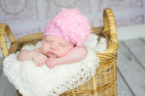 Candy Pink Crochet Hat with Candy Pink Large Curly Marabou