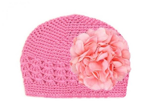 Candy Pink Crochet Hat with Candy Pink Large Geraniums