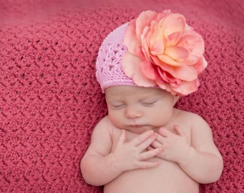 Candy Pink Crochet Hat with Candy Pink Large Rose