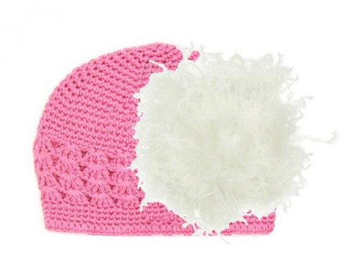 Candy Pink Crochet Hat with Cream Large Curly Marabou