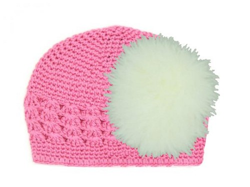 Candy Pink Crochet Hat with Cream Large regular Marabou