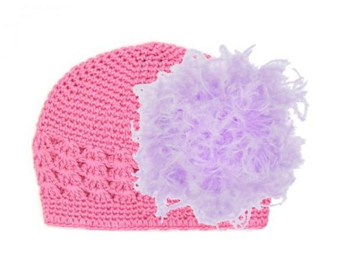 Candy Pink Crochet Hat with Lavender Large Curly Marabou