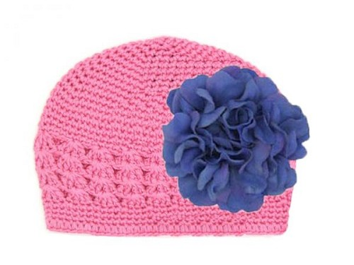 Candy Pink Crochet Hat with Lavender Large Geraniums