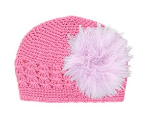 Candy Pink Crochet Hat with Lavender Large regular Marabou