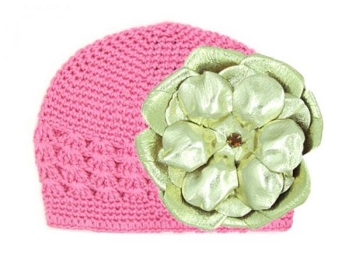 Candy Pink Crochet Hat with Metallic Gold Rose