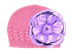 Candy Pink Crochet Hat with Metallic Purple Rose