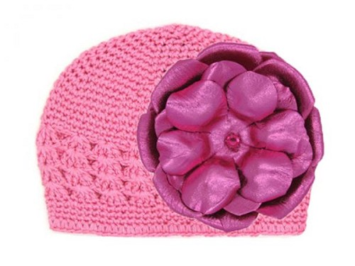 Candy Pink Crochet Hat with Metallic Raspberry Rose