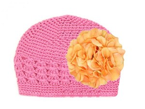 Candy Pink Crochet Hat with Orange Large Geraniums