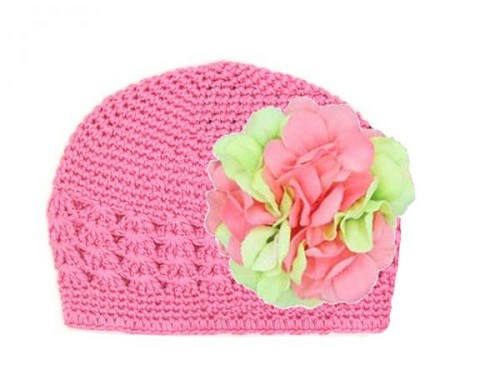 Candy Pink Crochet Hat with Pink Green Large Geraniums
