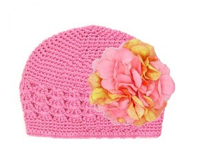 Candy Pink Crochet Hat with Pink Orange Large Geraniums
