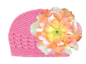 Candy Pink Crochet Hat with Pink Orange Large Peony