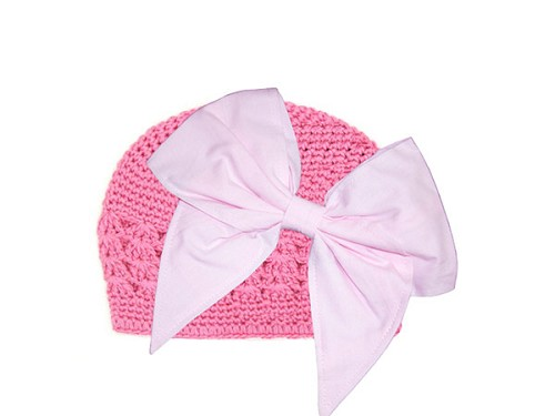 Candy Pink Crochet Hat with Pale Pink Bow-Rae-Mi