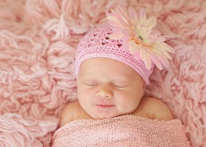 Candy Pink Crochet Hat with Pale Pink Daisy