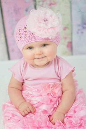 Candy Pink Crochet Hat with Pale Pink Lace Rose
