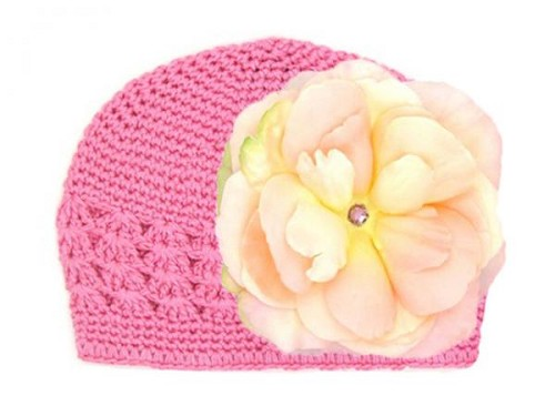 Candy Pink Crochet Hat with Pale Pink Large Rose
