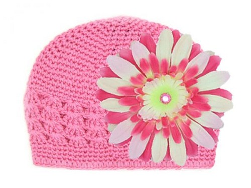Candy Pink Crochet Hat with Pink Raspberry Daisy