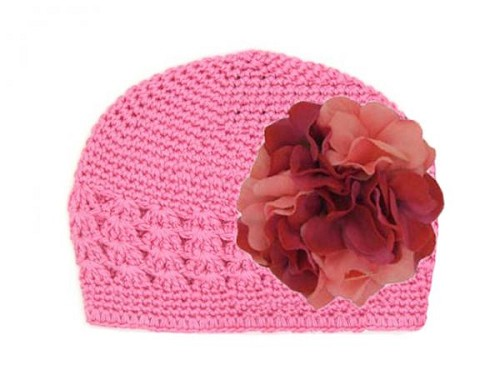 Candy Pink Crochet Hat with Pink Raspberry Large Geraniums