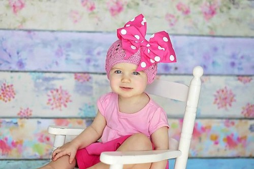 Candy Pink Crochet Hat with Pink White Bow-Rae-Mi