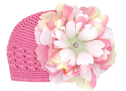 Candy Pink Crochet Hat with Pink White Large Peony