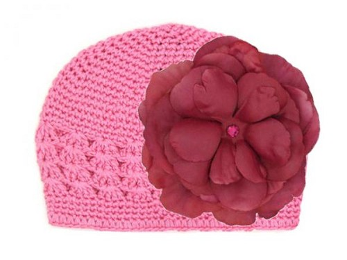 Candy Pink Crochet Hat with Raspberry Large Rose