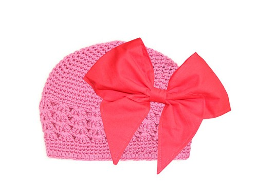 Candy Pink Crochet Hat with Red Bow-Rae-Mi
