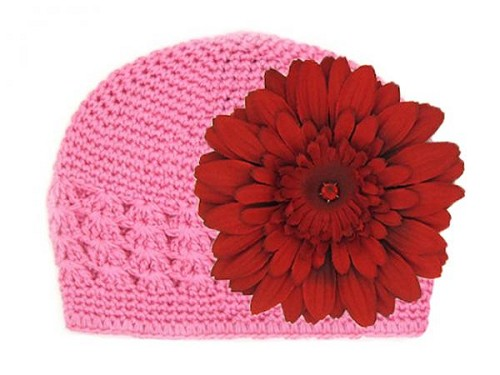 Candy Pink Crochet Hat with Red Daisy