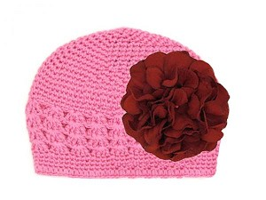 Candy Pink Crochet Hat with Red Large Geraniums