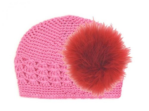 Candy Pink Crochet Hat with Red Large regular Marabou