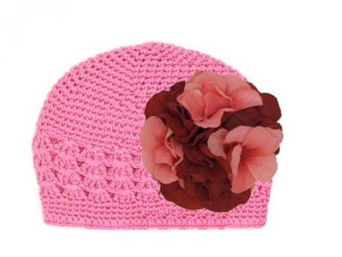 Candy Pink Crochet Hat with Red Pink Large Geraniums