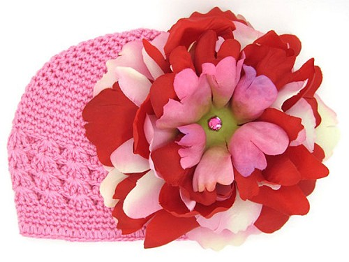 Candy Pink Crochet Hat with Red Pink Large Peony