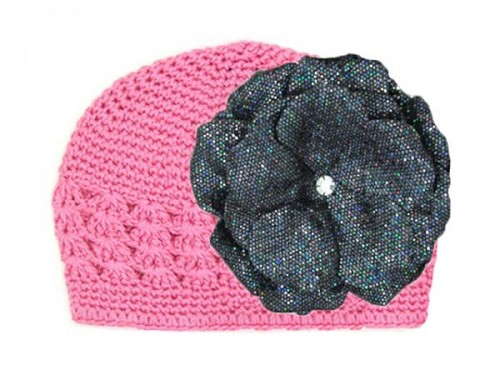 Candy Pink Crochet Hat with Sequins Black Rose