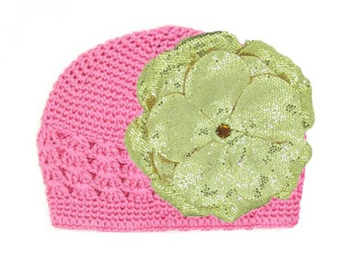 Candy Pink Crochet Hat with Sequins Gold Rose