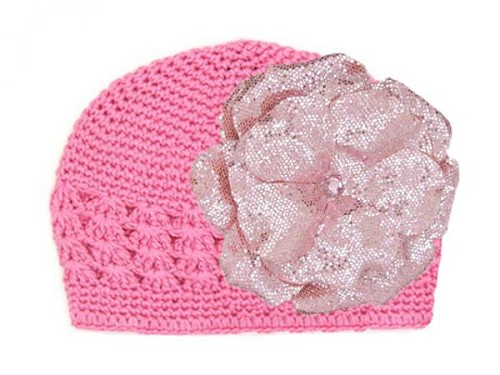 Candy Pink Crochet Hat with Sequins Pale Pink Rose