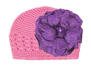 Candy Pink Crochet Hat with Sequins Purple Rose