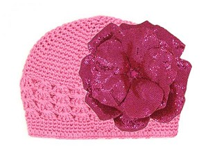 Candy Pink Crochet Hat with Sequins Raspberry Rose