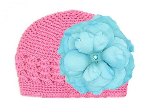 Candy Pink Crochet Hat with Teal Large Rose