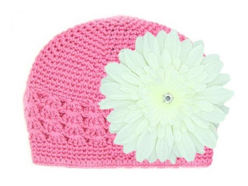 Candy Pink Crochet Hat with White Daisy